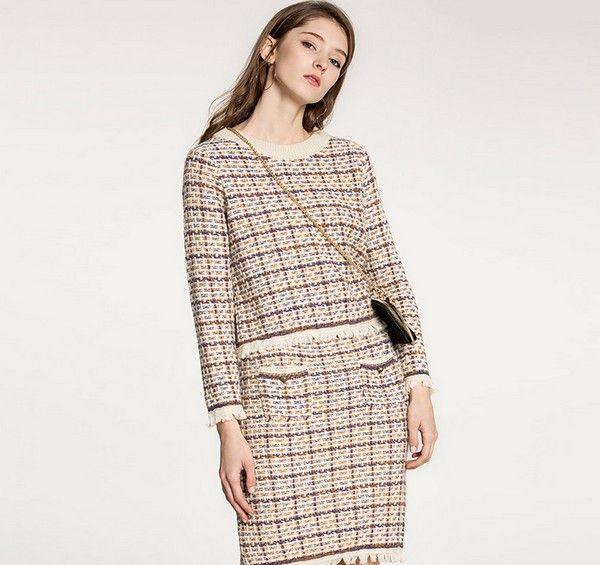 格纹小香风短裙两件套第8张