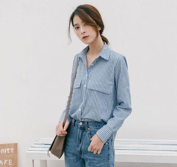 蓝白条纹棉质衬衫第7张
