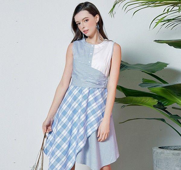 格纹不规则拼接衬衫裙第6张