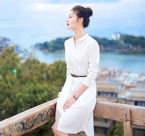 纯色衬衫连衣裙第1张